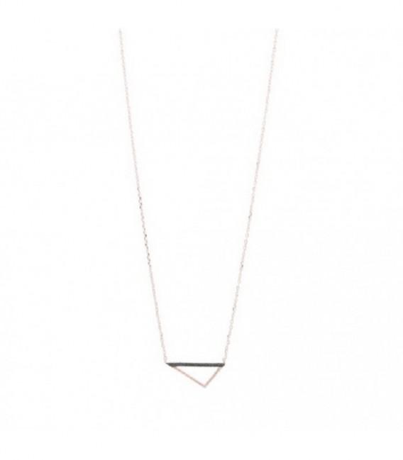 Collar rosé triángulo zirkon negras - PE-14767