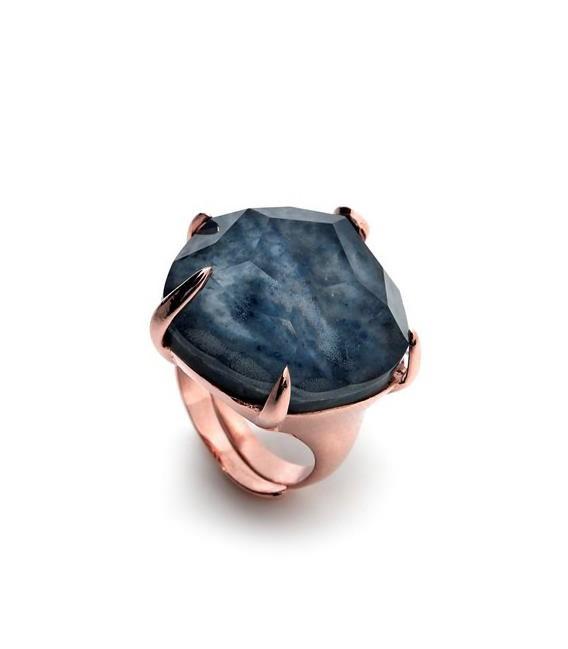 Sortija plata rosé piedra facetada - R-14169-B