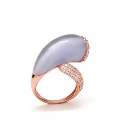 Anillo plata rosé y ágata - R-14401-L