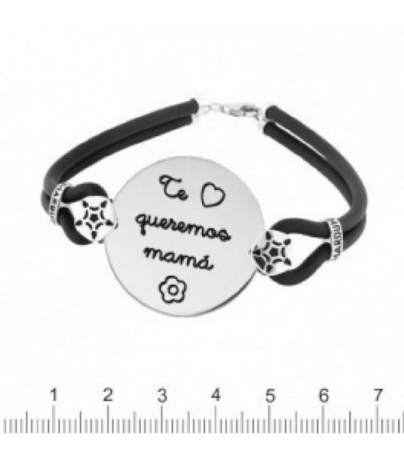 PULSERA PLATA CAUCHO TQMAMÁ - K-00545-MA04