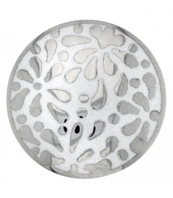 Insignia esmalte blanco flor 24mm - 24-0453