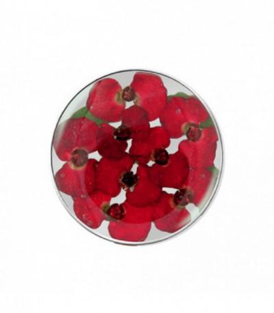 Insignia 24mm  cristal flores rojas - 24-1175