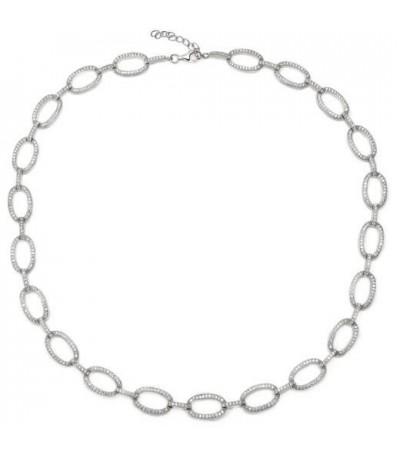 Collar plata motivos ovales con circonitas - C-14099