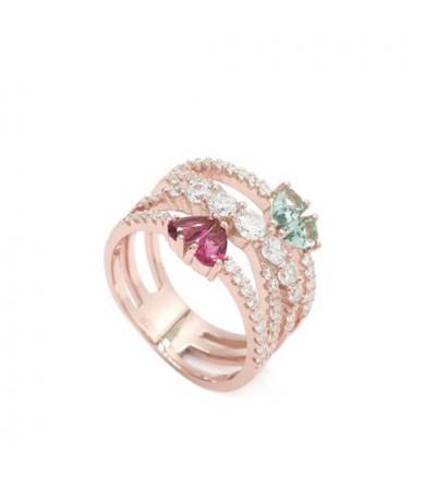 Anillo plata rose y zirconitas - 16179-R