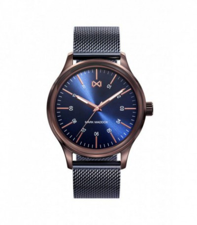 RELOJ ACERO MARRON Y AZUL VILLAGE MARK MADDOX - HM7109-37