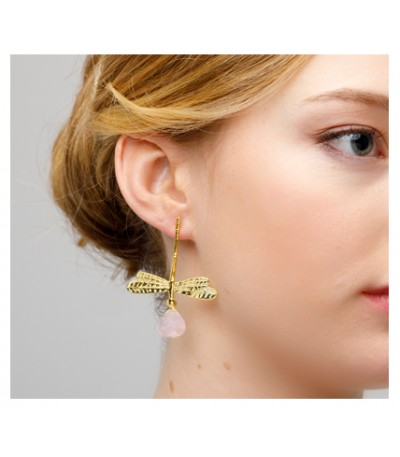 PENDIENTES LIBELULA ROSE QUARTZ - LE CARRÉ - LB045RS.00