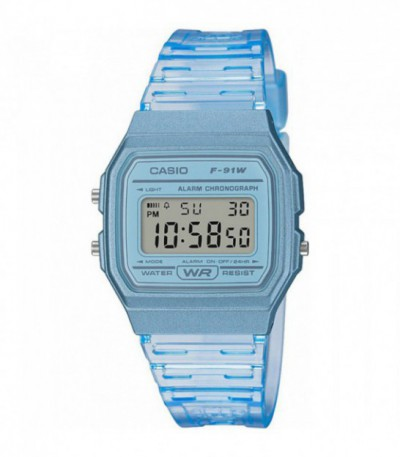 RELOJ AZUL TRANSPARENTE F-91WS CASIO COLLECTION - 15360
