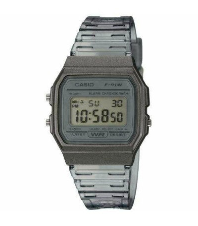 RELOJ GRIS TRANSPARENTE F-91WS CASIO COLLECTION - F-91WS-8EF